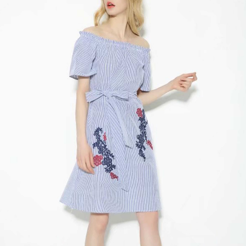 Fashion Women Flower Embroidery off Shoulder Stripe Bandage Dress
