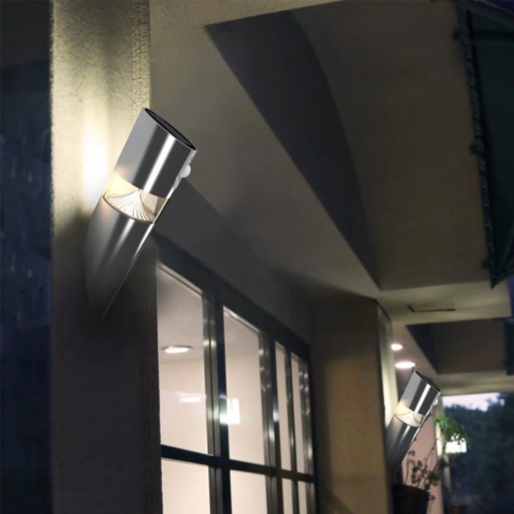 Stainless Steel Sensor Outdoor Solar Garden Wall LED Light