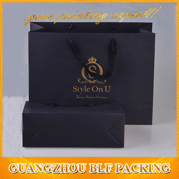 Printed Black Paper Packaging Shopping Gift Bag