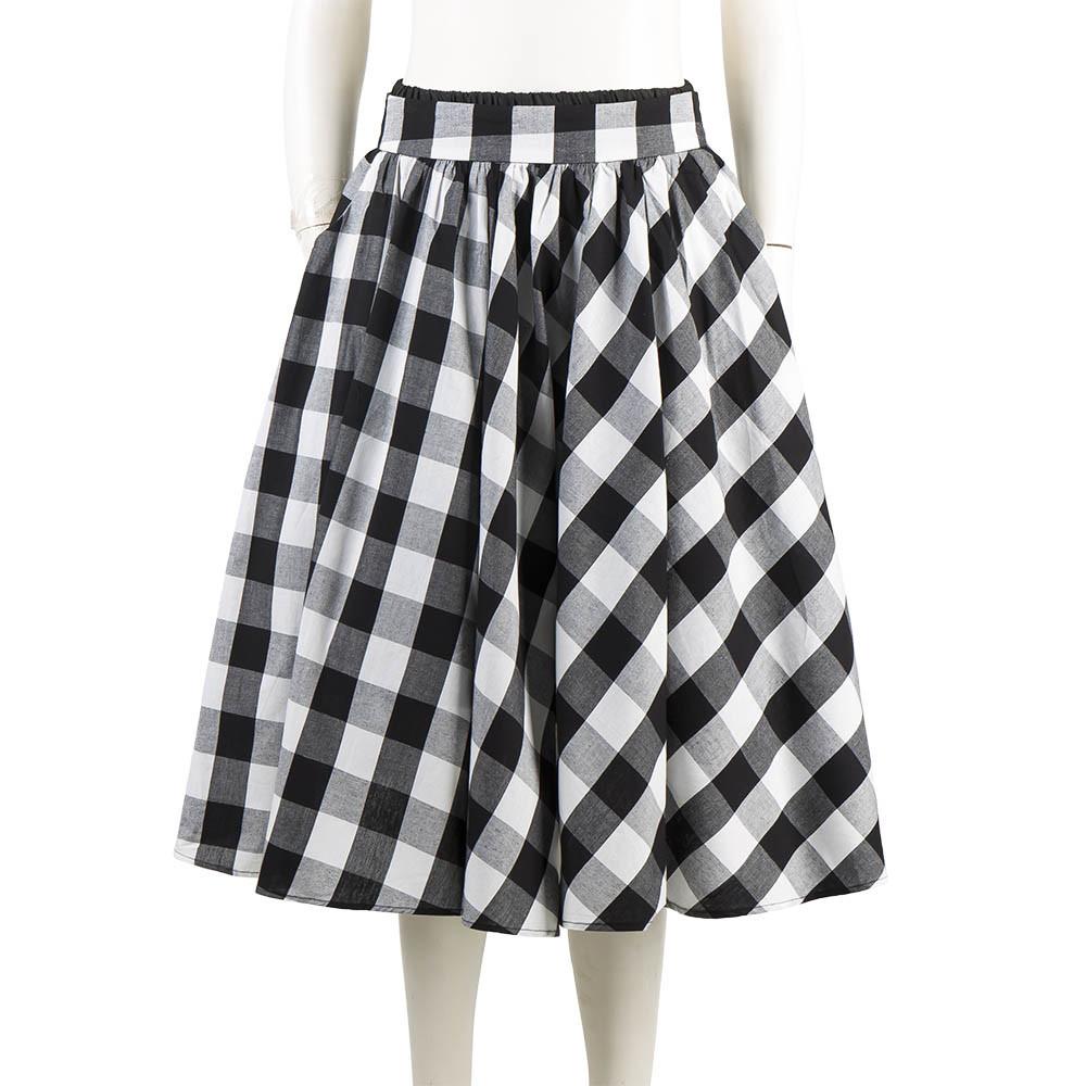 Latest Women Skirts Black and White Plain Plaid Maxi Umbrella Skirts