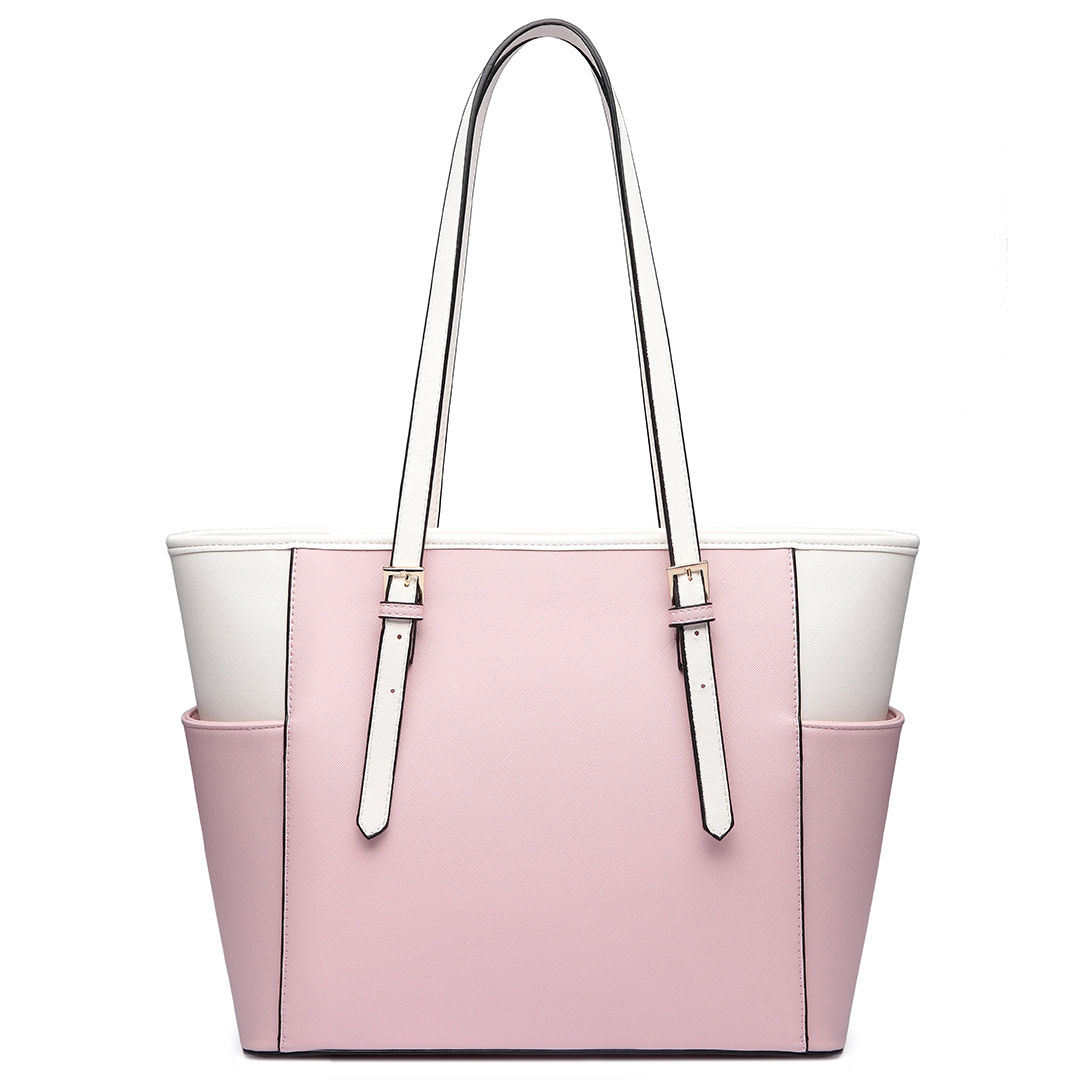 Designer Contrast Color PU Tote Bag Women Shoudler Bag