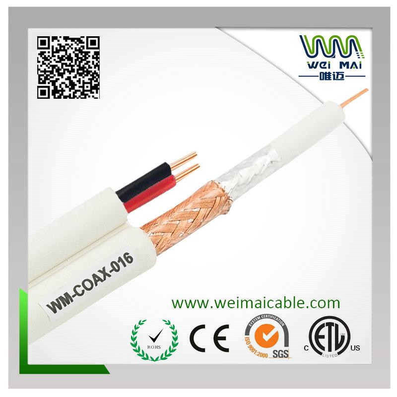 20AWG Bc 95% Bc Braiding Rg59 Siamese Coaxial Cable