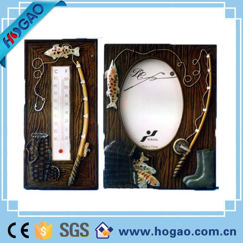 Home Decoration Thermometer Resin Fishing Photo Frame