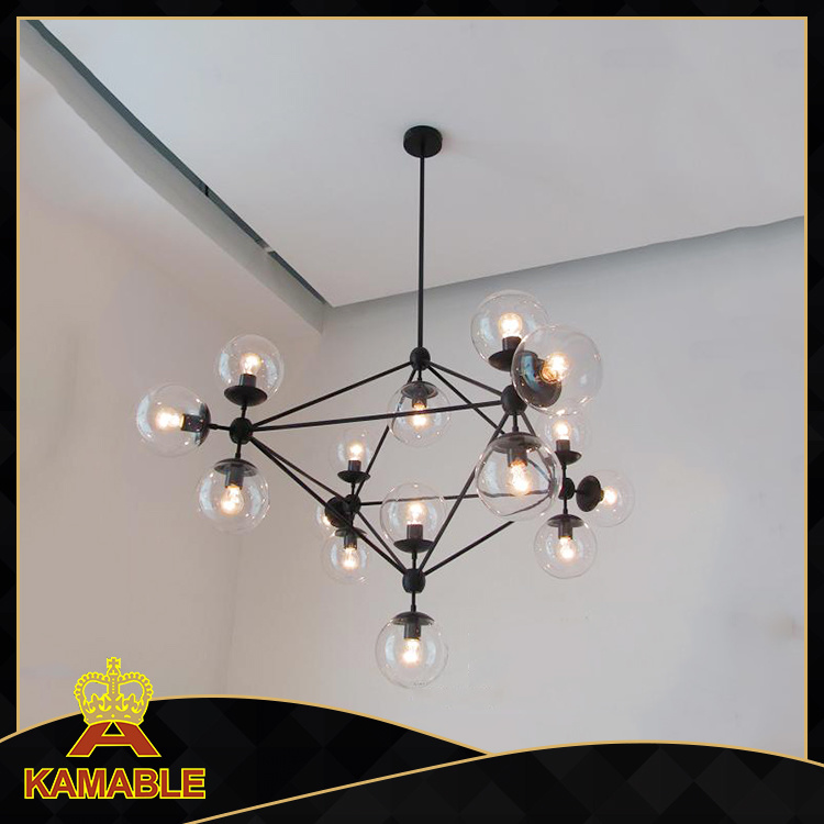 Contemporary Carbon Steel Glass Hanging Lights (KA1123S-15)