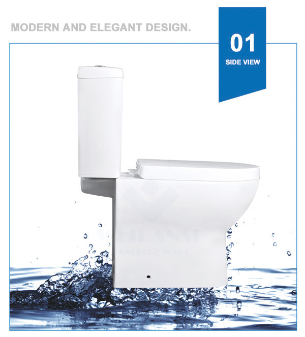 Weidansi Ceramic Wash Down S-Trap Two Pieces Toilet (WDS-T6205)