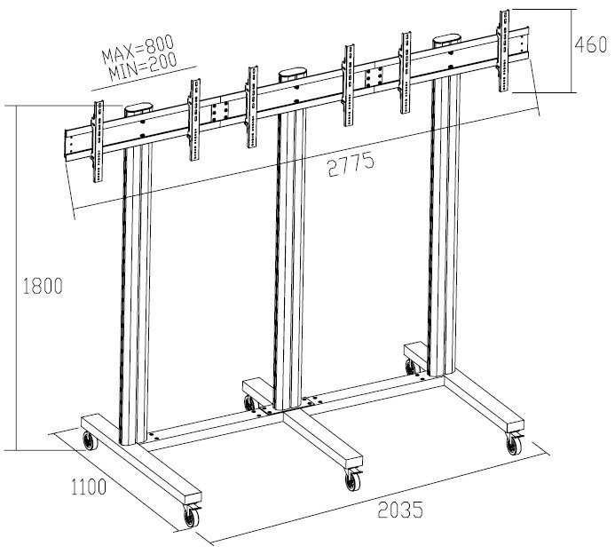 "Video Wall Stand 3 Screens 40-55"" (1*3) (AW 300)"