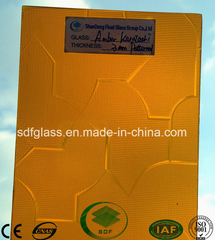 Amber Karatachi Patterned Glass with Ce, ISO (3-8mm)