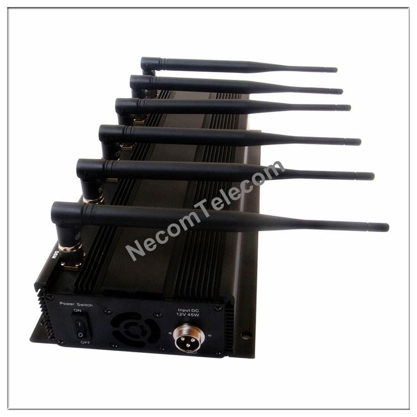 6-Bands Built-in Antenna Signal Jammer, Cellphone Jammer, New Lojack Jammer/Blocker for Cellular Phone+GPS+Wi-Fi+Lojack, Portable 6 Band Cellphone Jammer