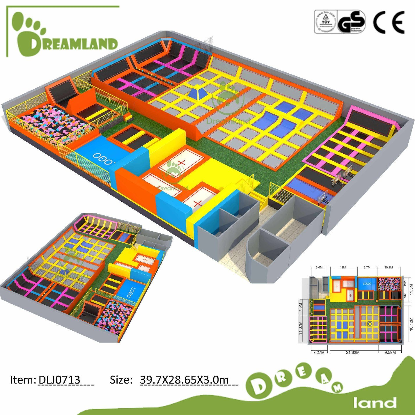 Dreamland Big Commercial Indoor Trampoline Park (DLJ043)