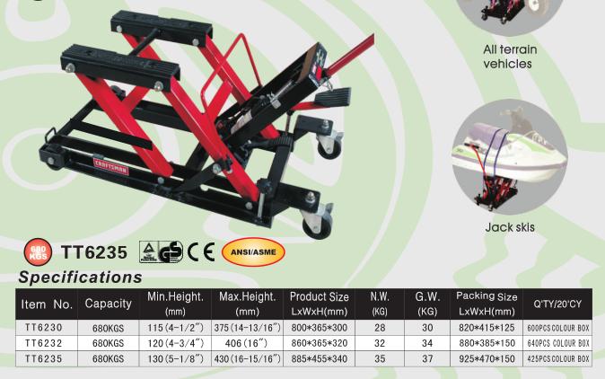 "Liftmaster 680kg Motorcycle Bike Lift ATV Jack with 1500lb Large 14"" Lifting Area"