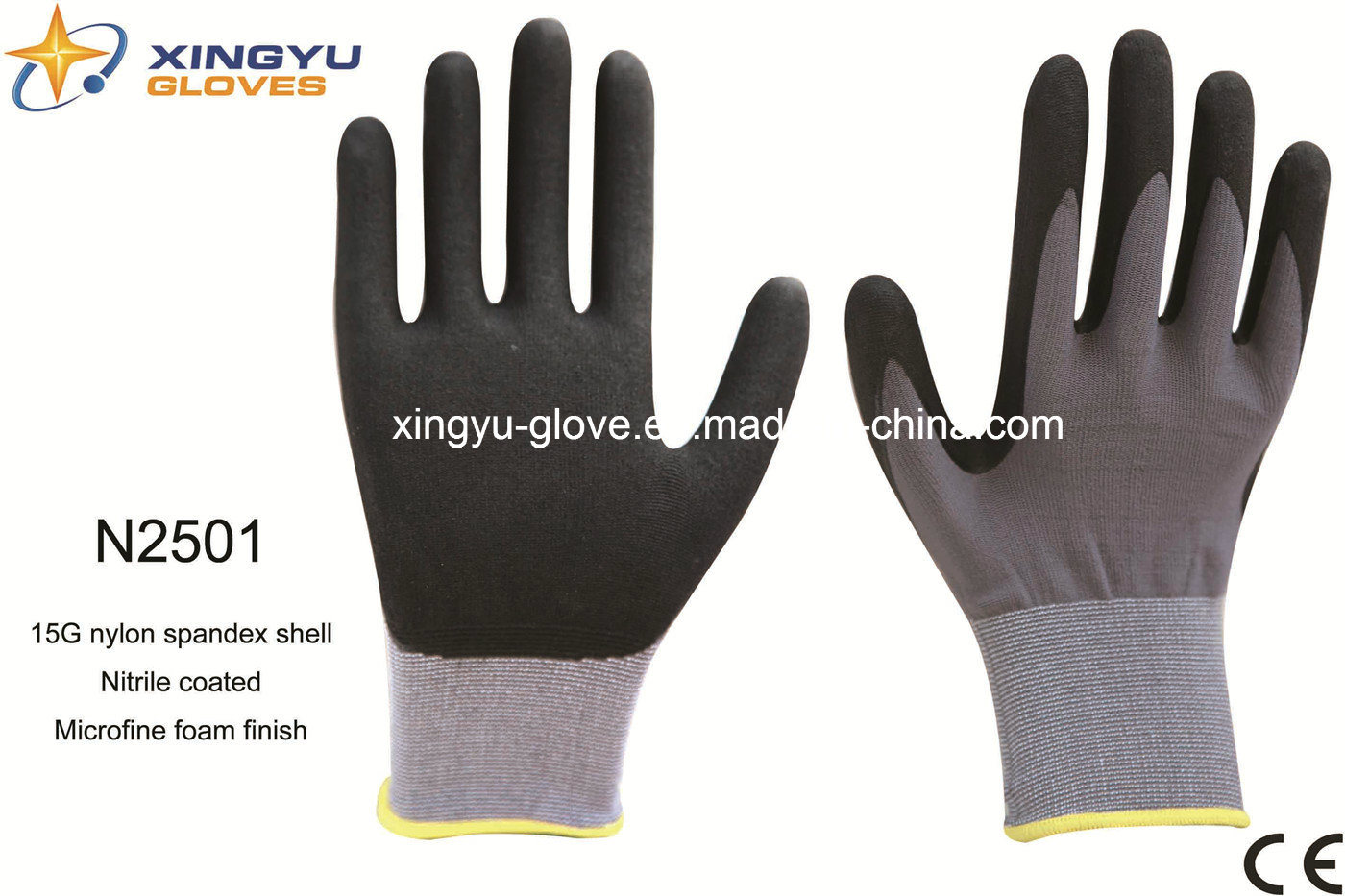 Nylon Spandex Shell Nitrile Coated Saftey Work Gloves (N2501)