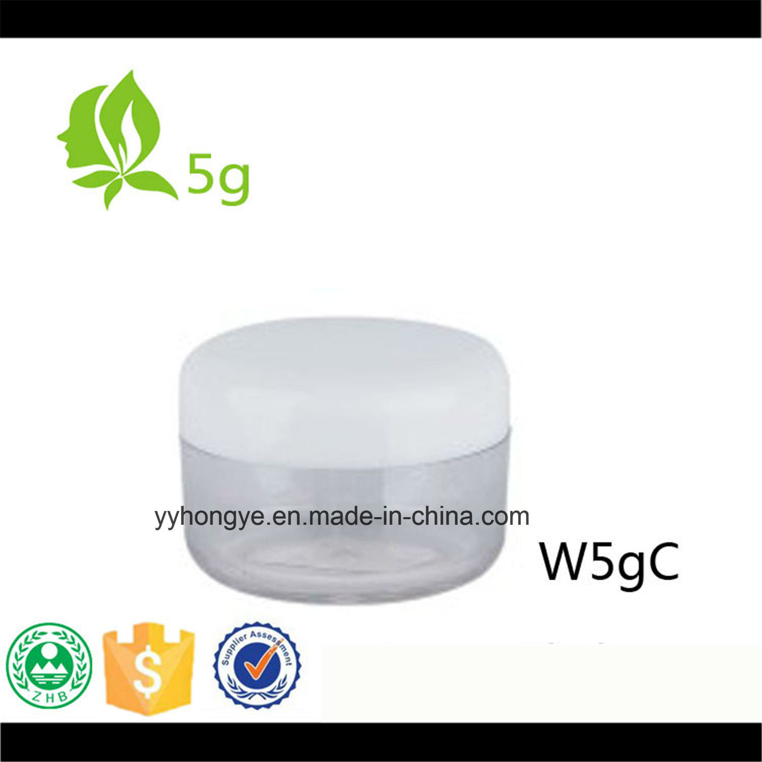 5g Plastic PS Cream Jar with PP Cap