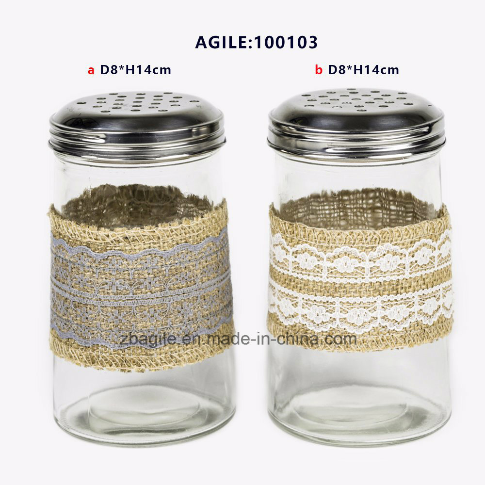 Factory Price Wholesale New Design Stainless Steel Lid Spice Glass Jar (100103)