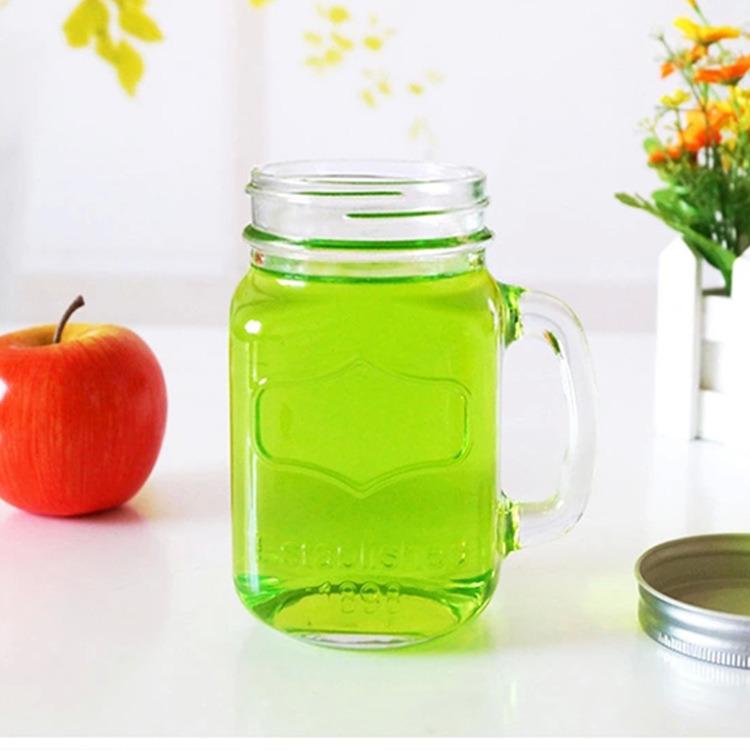 12oz 16oz Glass Mason Jar with Handle and Straw