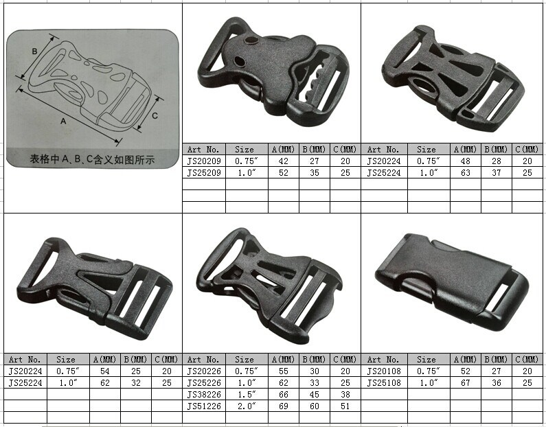 Plastic Splice-Buckles, Insert Buckles, Safety Buckle