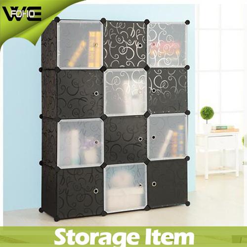 12 Cubes Modular Plastic Storage Box Fashion Wardrobe Closet Bedroom Furniture