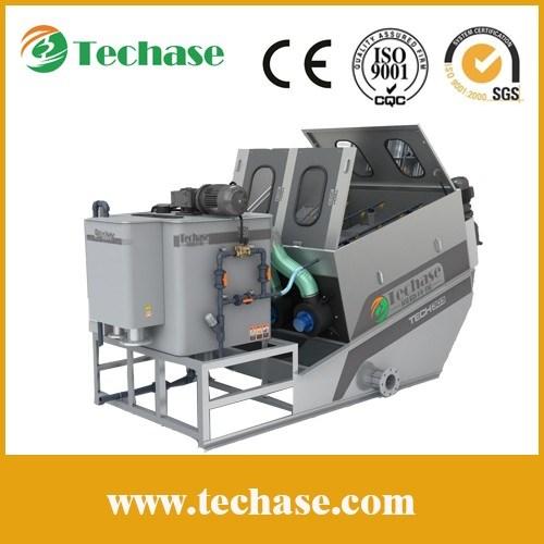 (largest manufacturer) Techase Sludge Dewatering Screw Filter Press / Clog Free / No Backwash Water / Compact Design