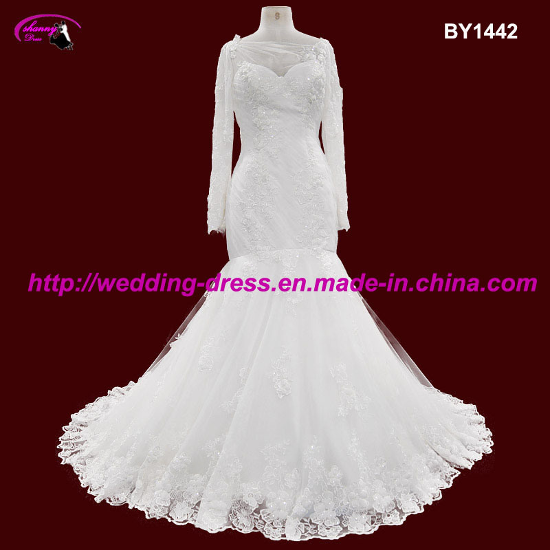 New Arrival Mermaid Bridal Wedding Dress with Long Sleeves