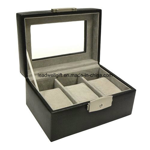 3 Slots Lacquered Watch Box Window Storage Case