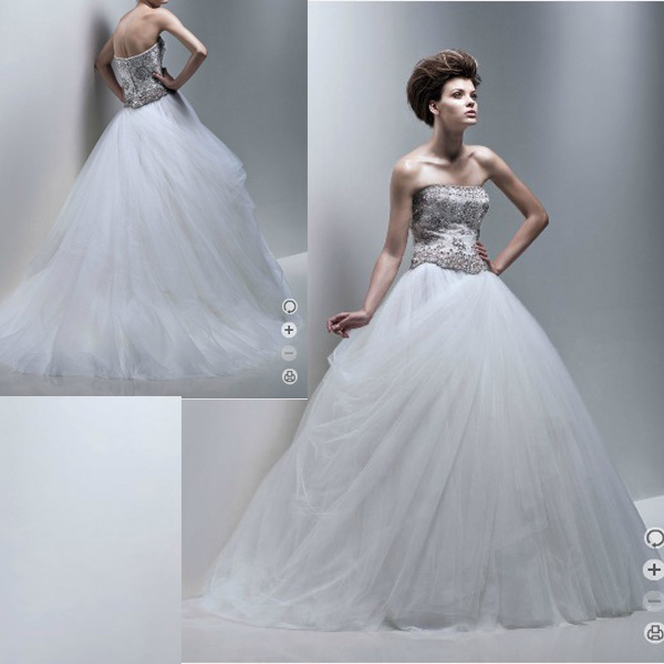 Ball Gown Wedding Dresses Tulle Skirt China Beaded Bodice Dress