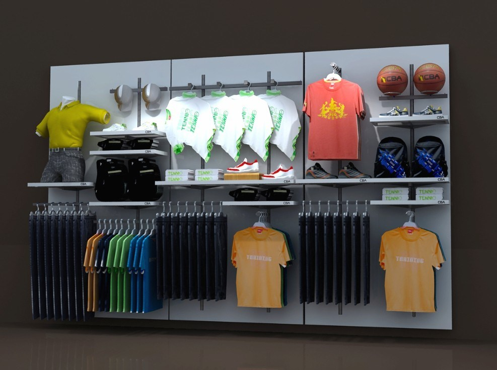 China retail store clothes display wall shelf wmd 082 for Boutique wall displays