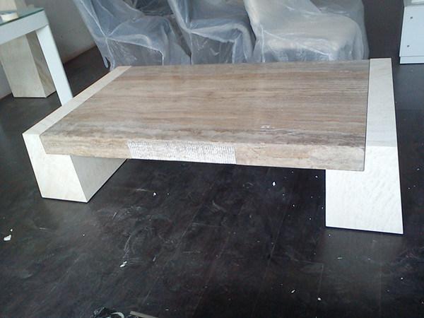 Travertino natural moderna mesa de m rmol del caf d8832 - Mesa de marmol travertino ...