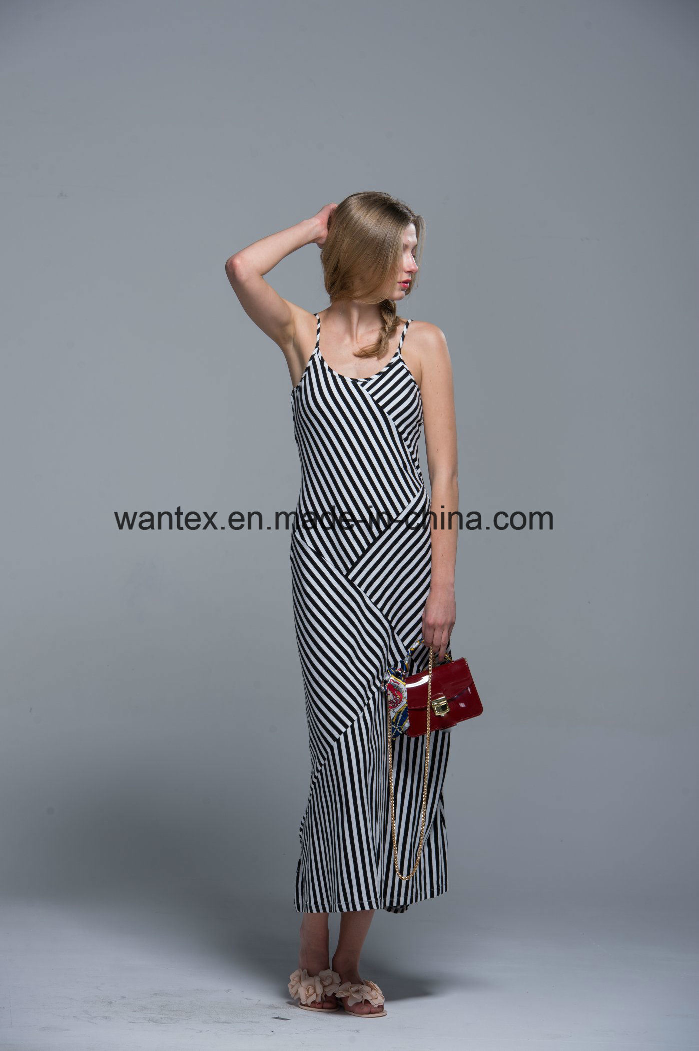 Sling Ladies Long Dress Summer Fashion 100% Cotton Stripe Loose Girl