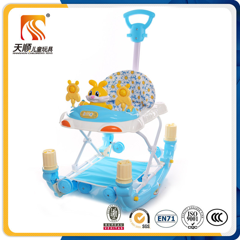 China Hot Sale Folding Rocking Baby Walker Go Round with Pushbar