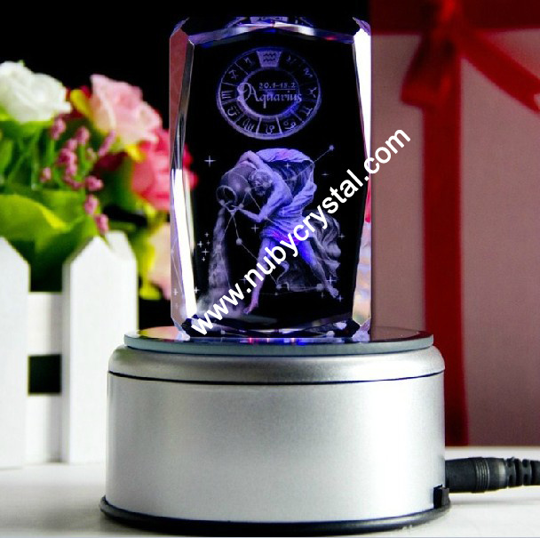 Zodiac Sign Laser Engraved Blocks with LED Base/Aquarius