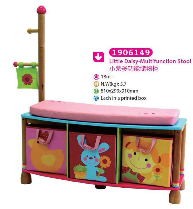 Wooden Multifunction Storage Stool Storage Box with Coatrack Children Furniture
