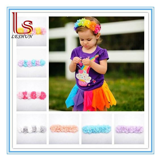 Fashion Children Headdress 6 Flowers Rainbow Baby′s Hair Band Headband