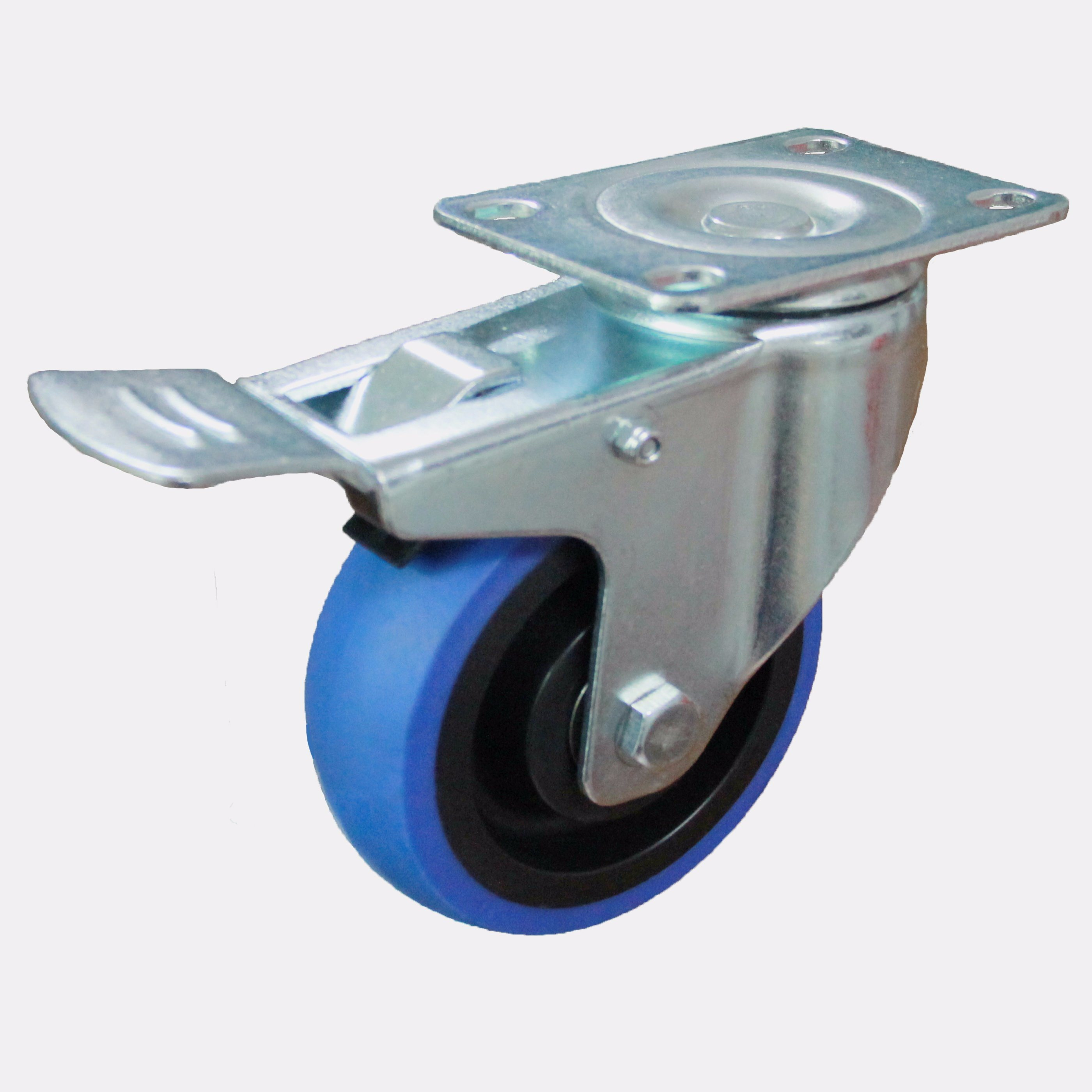 3/4/5 Inch Elastic Rubber Castor Wheels Noiseless Caster with Brake