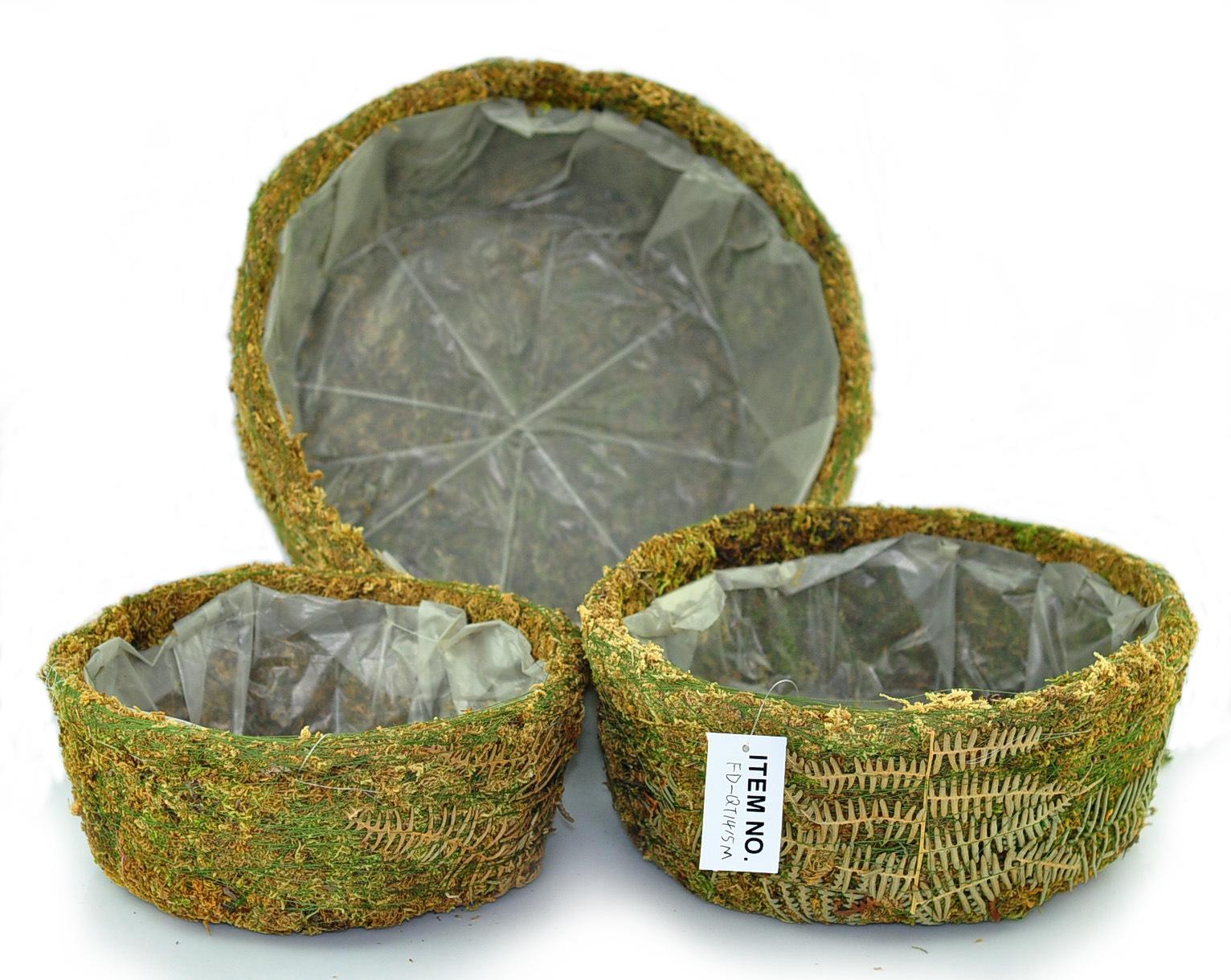 Decorative Moss Round Planter (set of 3)