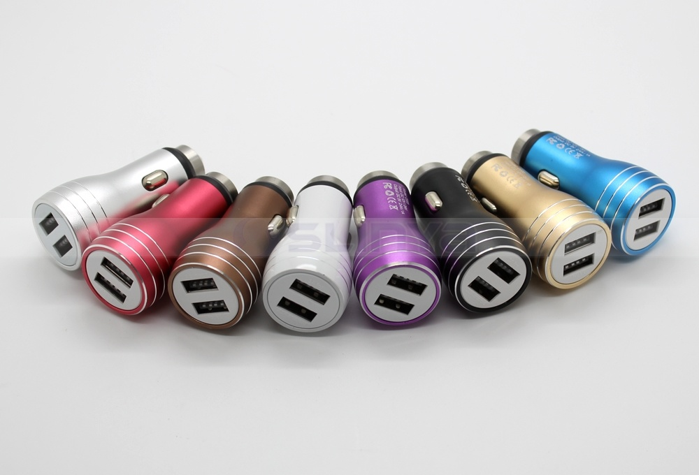 DC 5V 3.1A Metal Dual USB Car Charger for Tablet PC Apple iPhone Mobile Phone Car Mount with Hammer