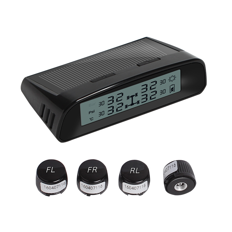 Car Wireless TPMS Tire Pressure Monitoring System Solar LCD Psi Bar Car TPMS