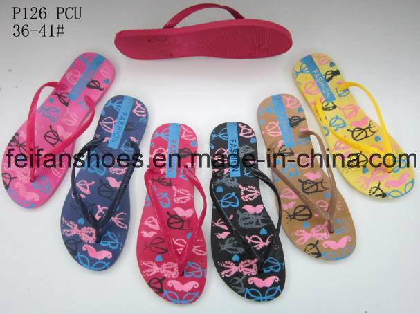 Women PVC Slippers Good Price Flip Flops (FFLT112201)
