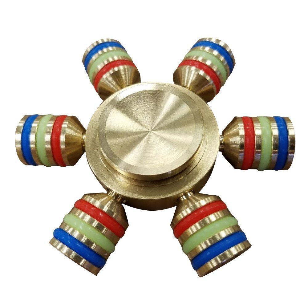 6 Horn Leuchtende Metall Hand Spinner Gyro Finger Gyroskope
