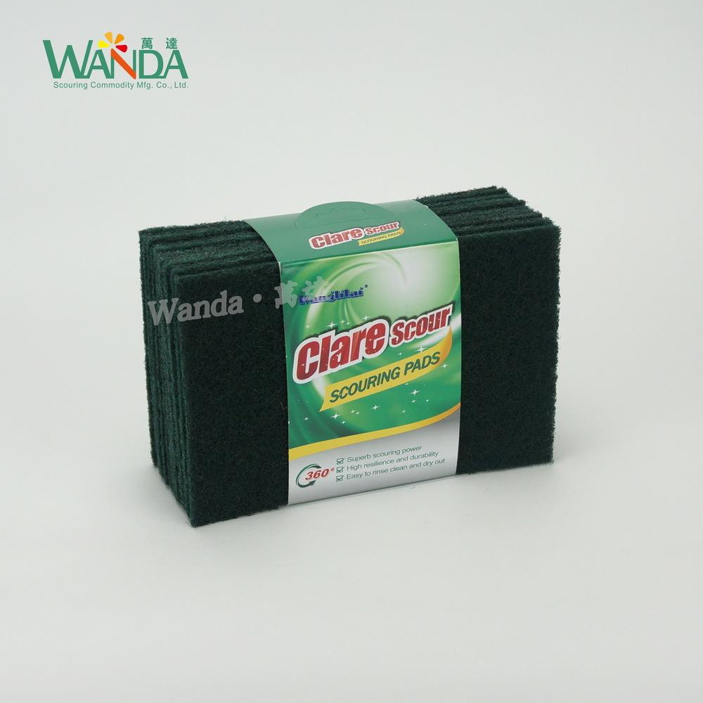 Dark Green Non-Abrasive Kitchen Cleaning Scouring Hand Pad