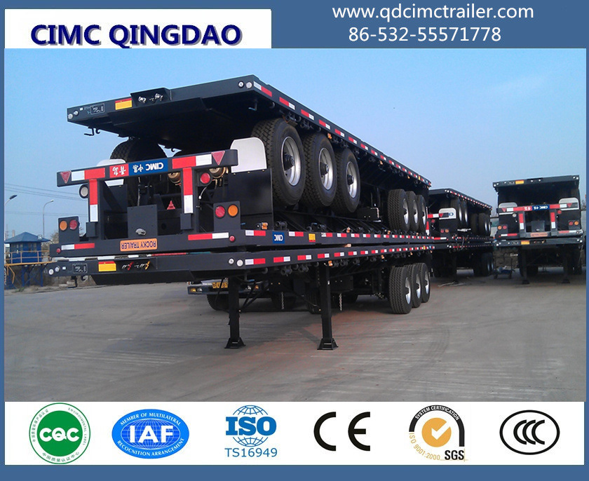 40FT 12.5m 3 Axles Cimc Flatbed Semi Truck Trailer