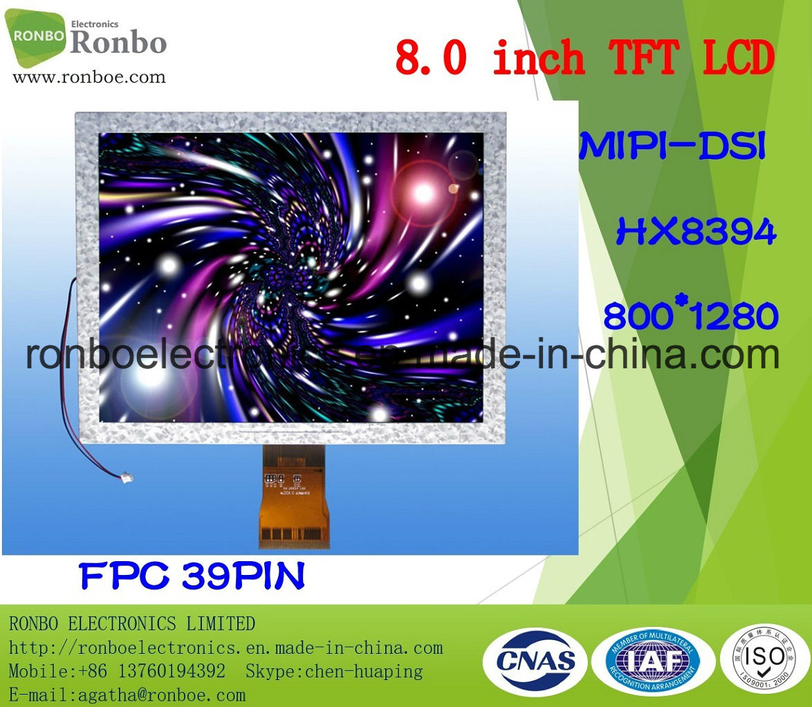 "8.0"" 800X1280 Mipi TFT LCD Display, Hx8394, 39pin, for POS, Doorbell, Medical"
