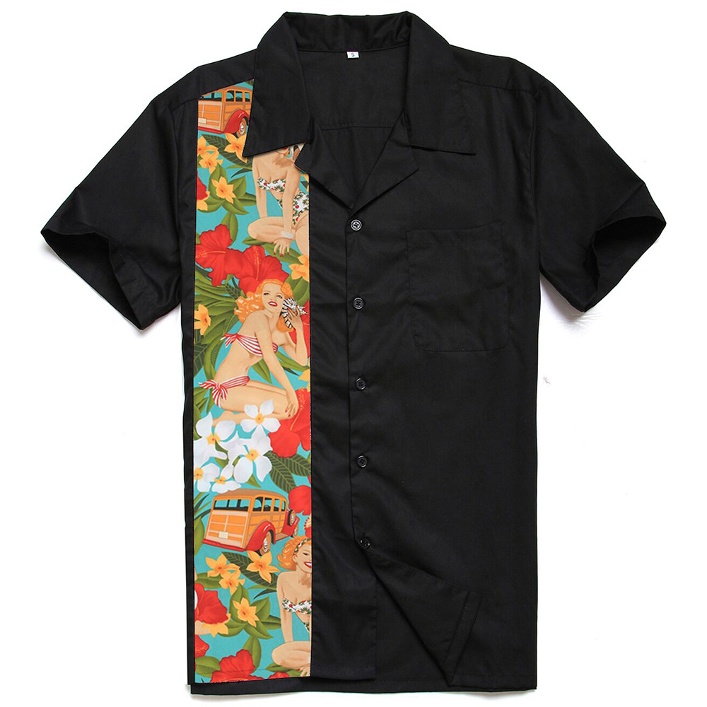 Latest Custom Design Short Sleeves Bowling Hawaiian Shirt for Men