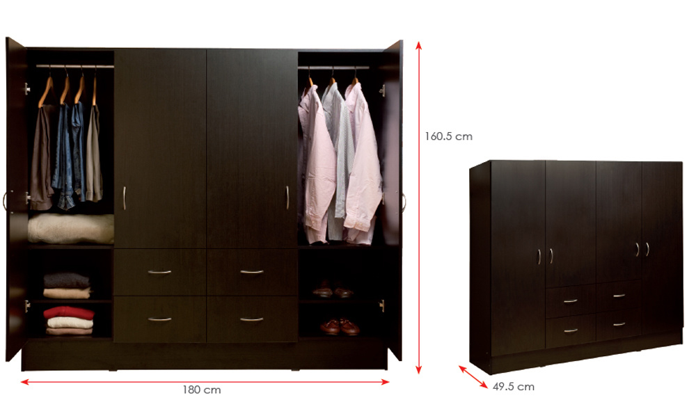 Melamine Laminated MFC Clothes Storage Cabinet Wooden Wardrobe (HX-DR339)