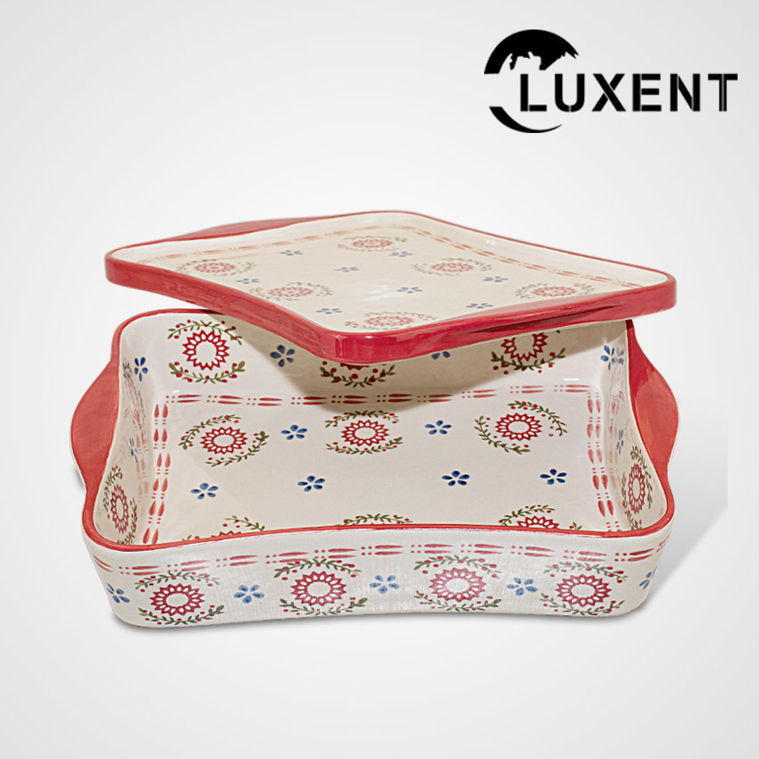 Hot Sale Porcelain Large Wavy Shape Baking Tray with Lid