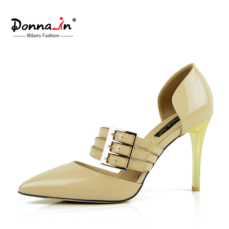 Lady Buckle-Strap Hollow-out Pointed-Toe High Heels Women Leather Dress Shoes