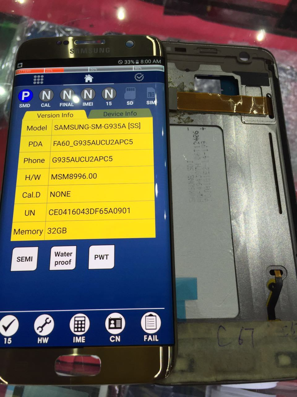 Original LCD screen for Samsung galaxy S7 Edge with frame in gold, silver colors