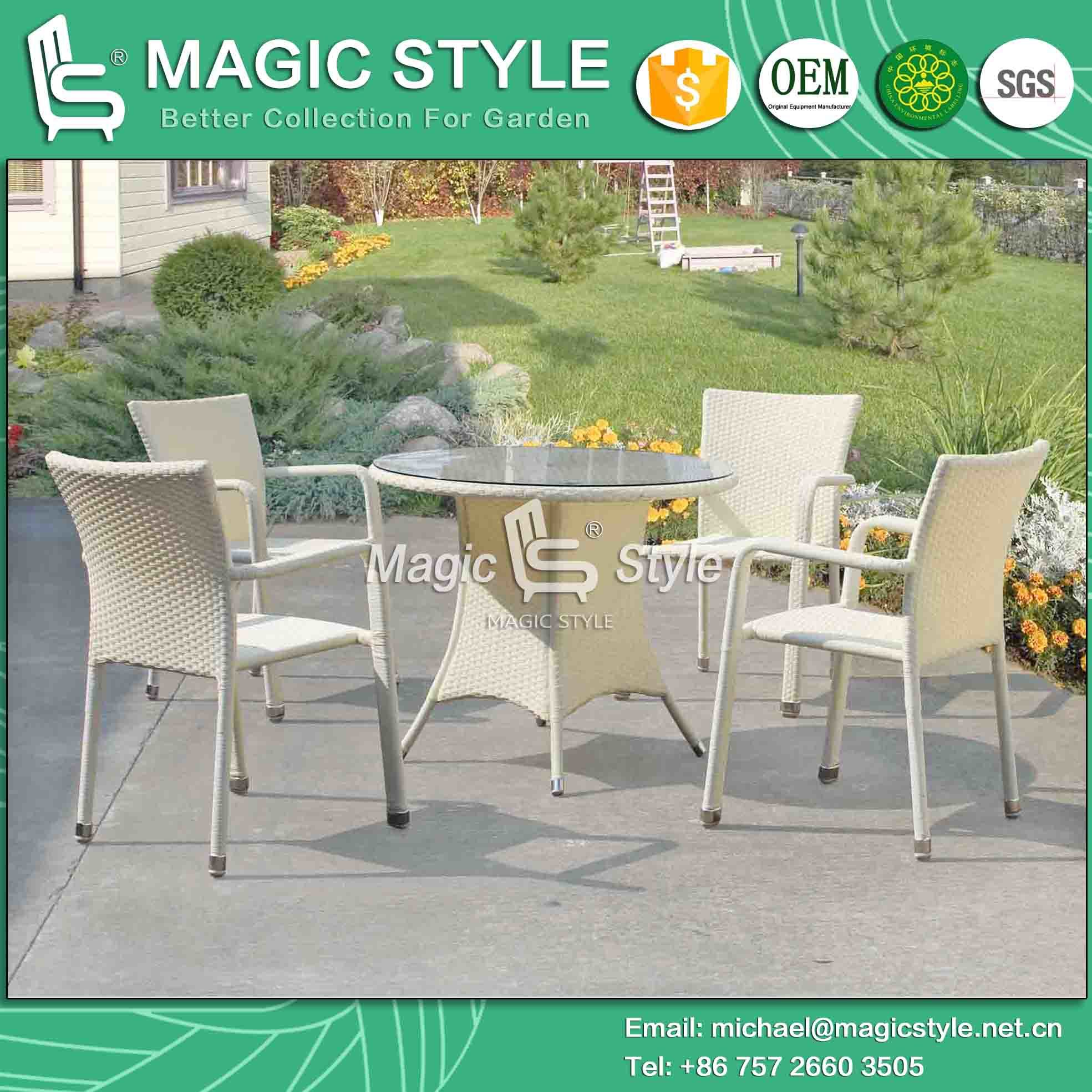 Patio Wicker Chair Rattan Chair Dining Chair Stackable Chair Outdoor Chair Coffee Chair (MAGIC STYLE)