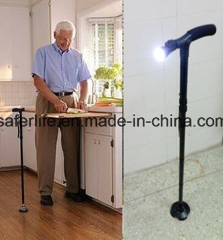 2017 New Product Saferlifer Red Aluminum Foldable Walking Cane with LED Light Walking Stick