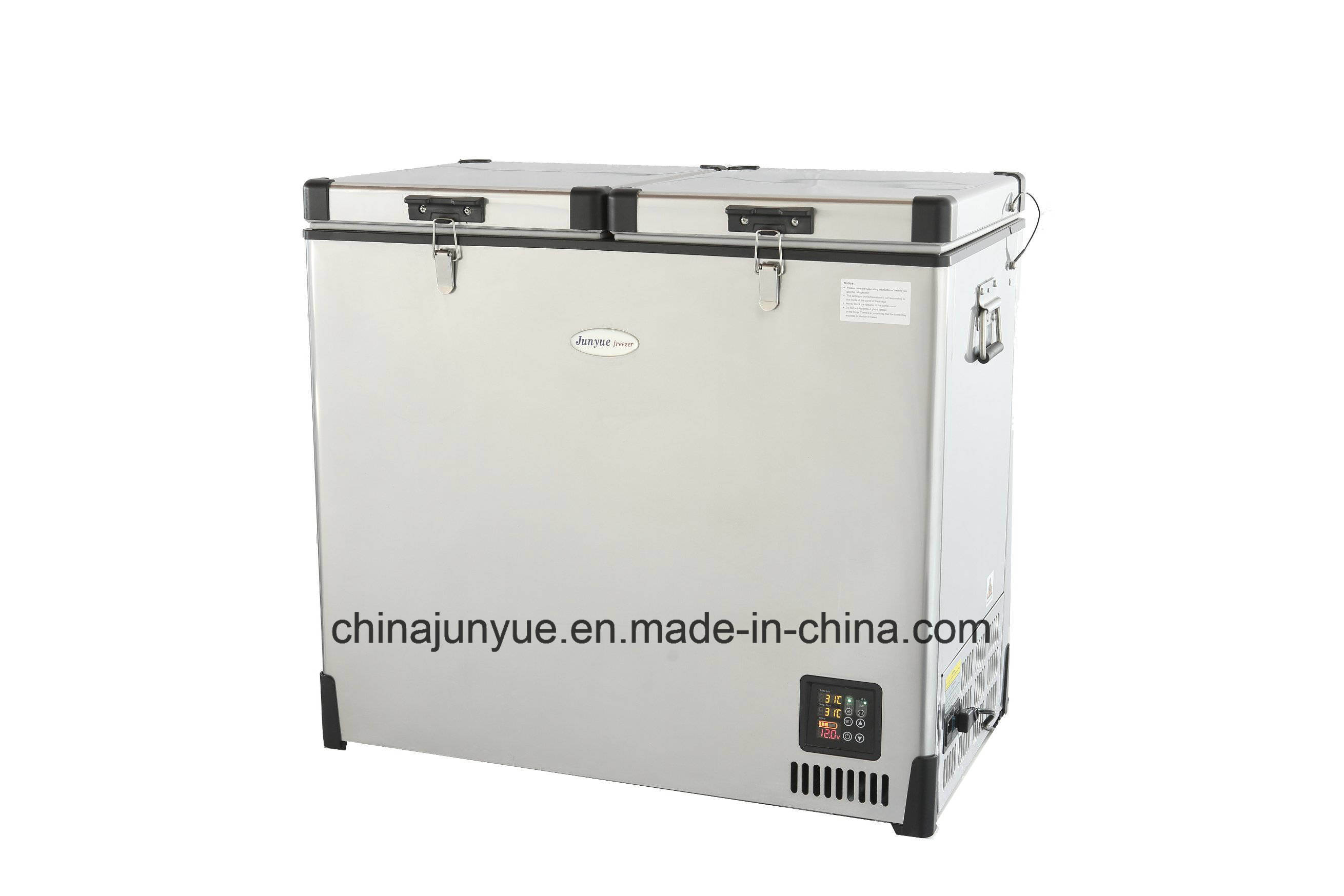 DC Car Stainless Steel Double Temperature Mobile Freezer Scd-112L