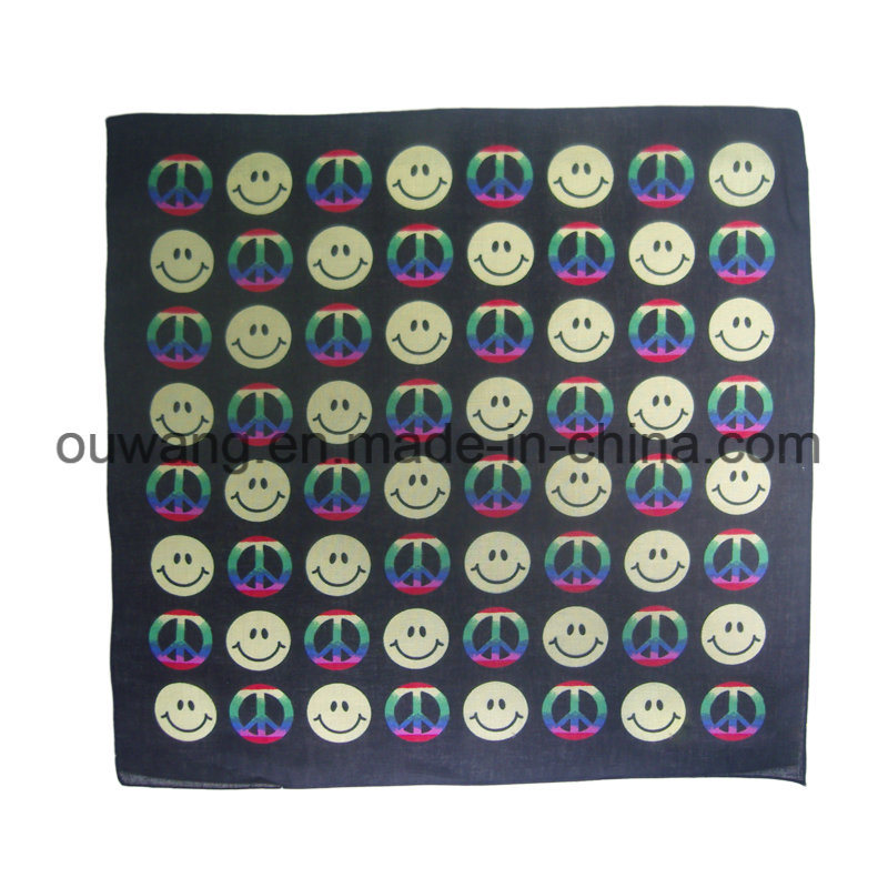Custom Soft Smile Face Printed Bandana 100% Cotton