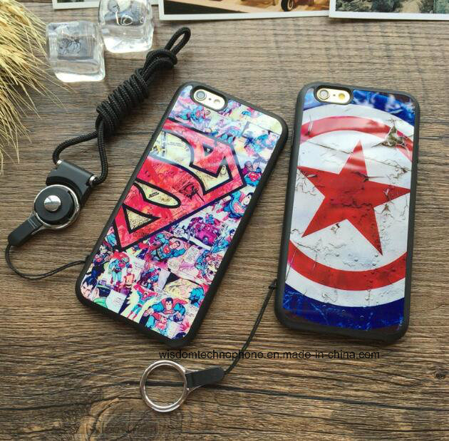 Cartoon Captain America for iPhone6/6 S Drop-Proof 6 Plus & 5 Se with Hang Rope Soft Shell Case